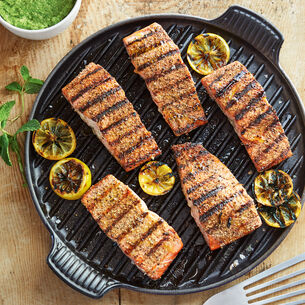 Grilled Salmon with Green Pea and Mint Pesto