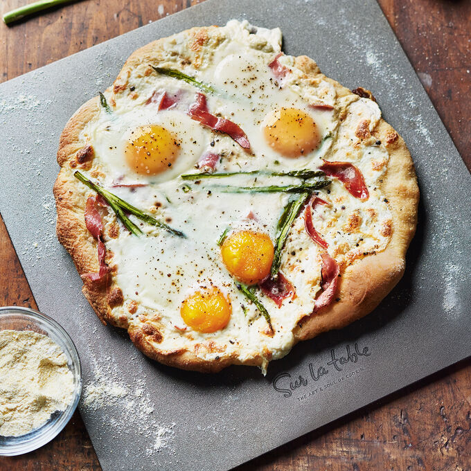 Shaved Asparagus, Burrata and Prosciutto Pizza