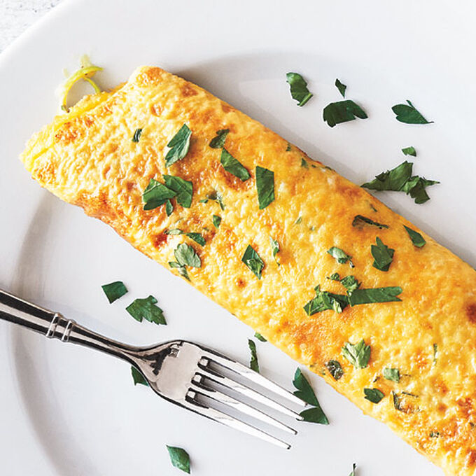Omelet with Leeks, Spring Herbs, and Goat Cheese