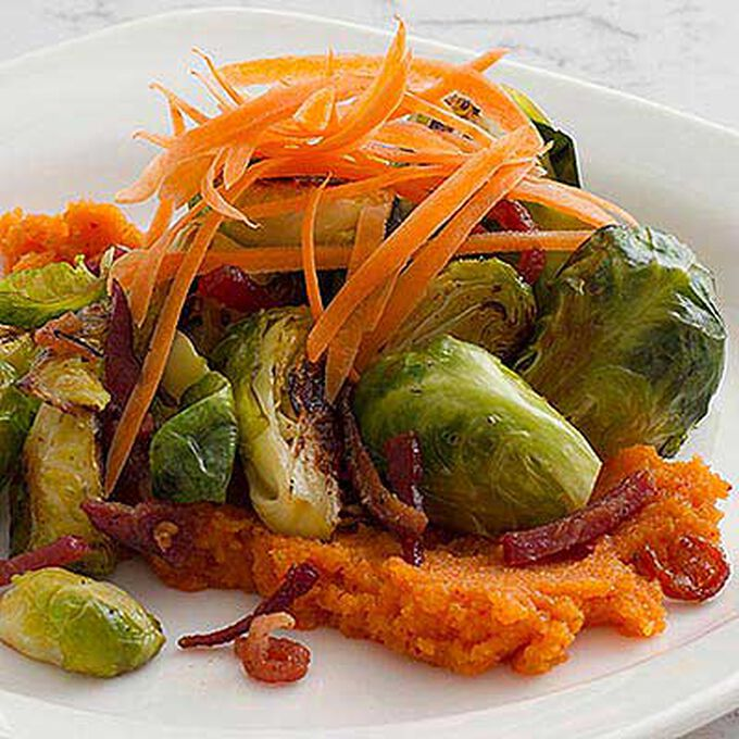 Brussels Sprouts, Kimchi Puree and Bacon