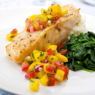 Halibut Steamed in Banana Leaves with Orange-Pineapple Relish