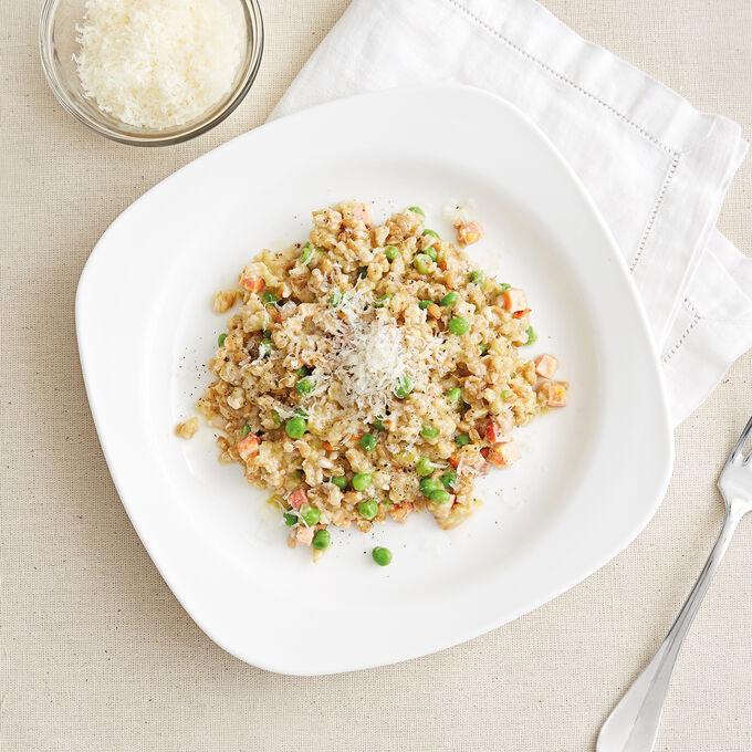 Peas and Ham Farro Risotto
