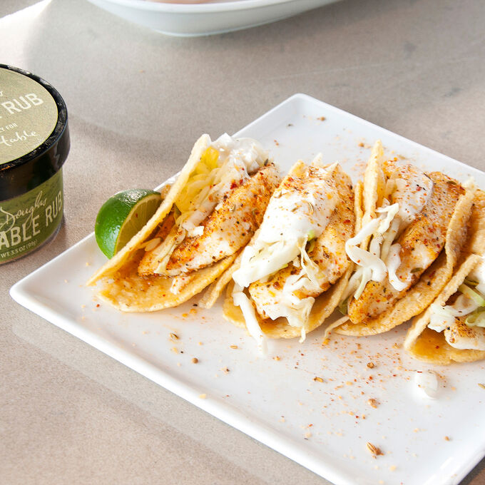 Rubbed and Seared Fish Tacos with Lime Cabbage Slaw