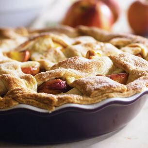 Peach-Vanilla Bean Cobbler with Sugar Crunch Lattice