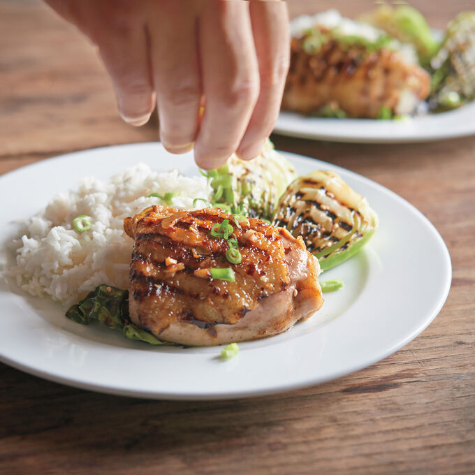 Steam-Grilled Chicken Thighs, Baby Bokchoy and Sesame Seeds