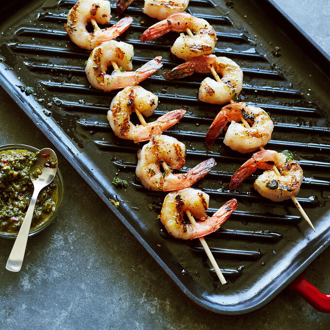 Lemon Oregano Shrimp Skewers with Chimichurri Dipping Sauce