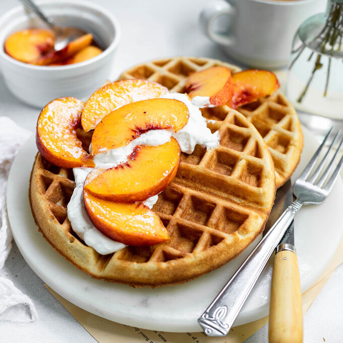 Peaches and Cream Waffles