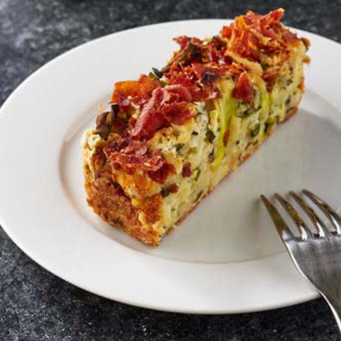 Zucchini Cake with Crispy Prosciutto
