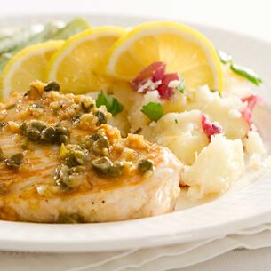 Swordfish Roasted with Potatoes and Served with Caper Mayonnaise