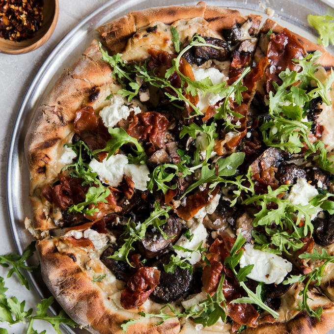 Grilled Mushroom, Chevre and Prosciutto Pizza with Garlic White Sauce