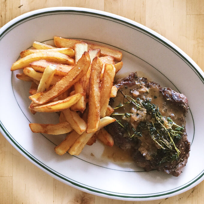 Seared Steak with a Red Wine Pan Sauce & Pommes Frites
