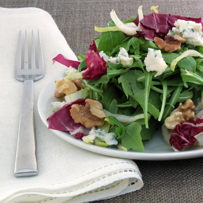 Arugula Radicchio Endive Roasted Walnut and Maytag Blue Cheese Salad