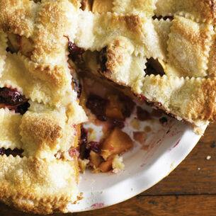 Lattice-Top Nectarine-Blackberry Pie