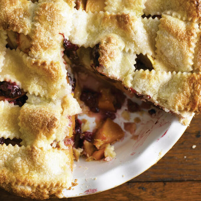 Lattice-Top Nectarine-Blackberry Pie