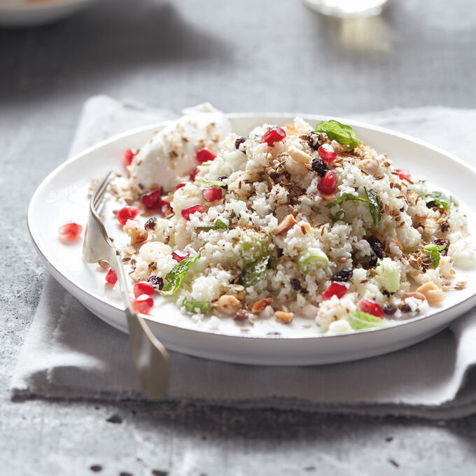 Cauliflower Rice Salad with Dukkah and Labneh