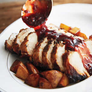 Pork Loin with Ginger Pomegranate Sauce
