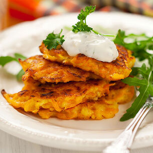Sweet Potato Fritters with Bacon-Shallot Jam