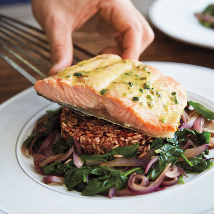Salmon with Lemon Chives Sauce