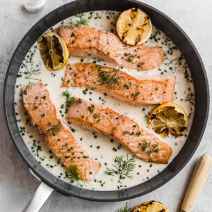 Pan Seared Salmon with Lemon Herb Parmesan Sauce