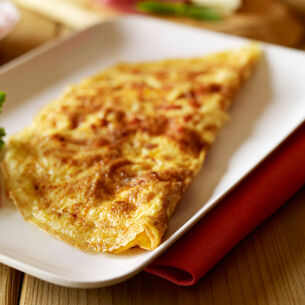 Potato, Caramelized Onion, and Salmon Omelet