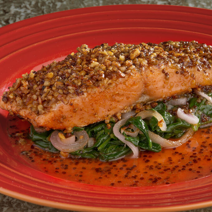 Pecan Crusted Salmon with Maple-Mustard Glaze