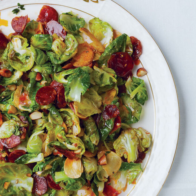 Brussels Sprout Leaves with Chorizo and Toasted Almonds from Bon Appétit
