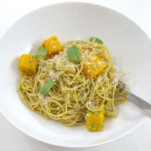 Whole Wheat Spaghetti with Butternut Squash and Hazelnut Pesto