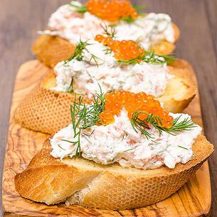 Creamy Salmon and Chive Mousse on Crostini