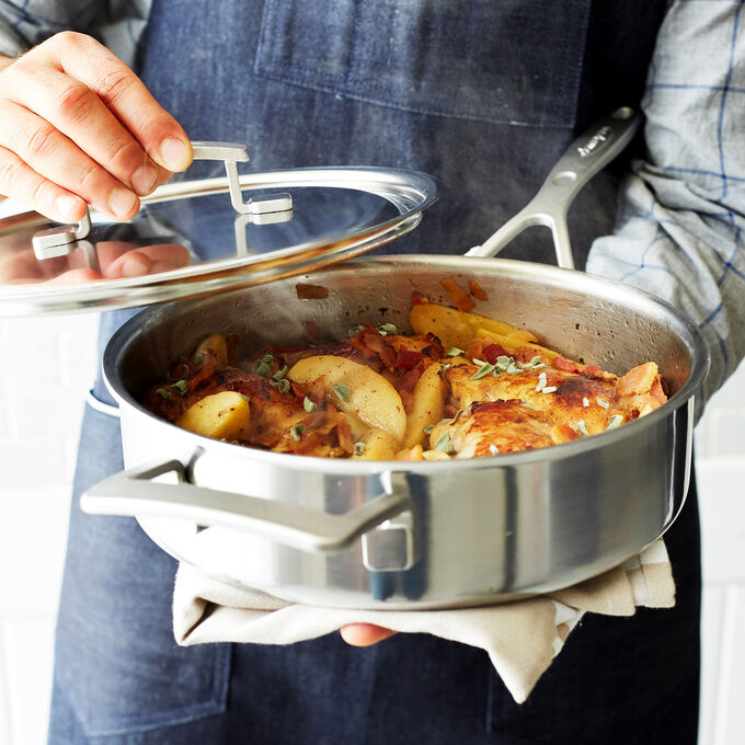 Cider-Braised Chicken with Bacon and Apples