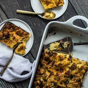 Savory Cornbread Pudding with Bacon, Leeks and Sage