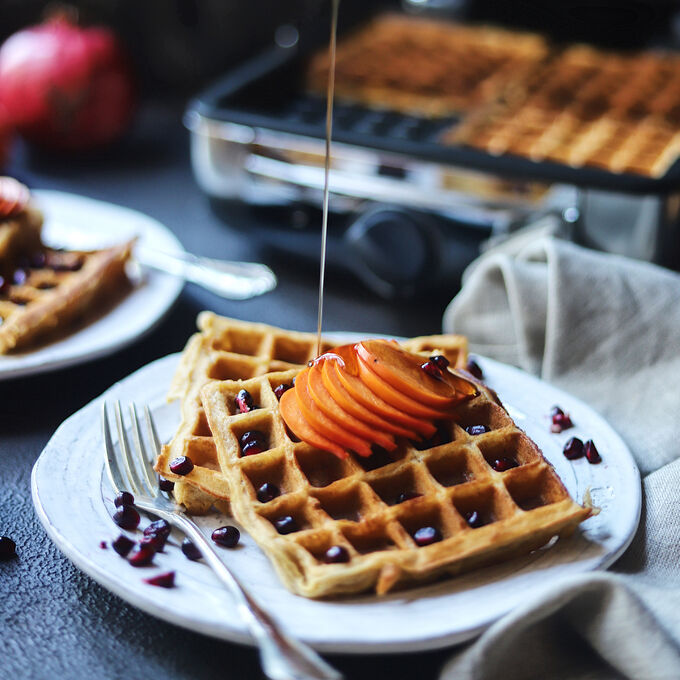Persimmon Spice Waffles with Persimmons, Pomegranates and Pecans