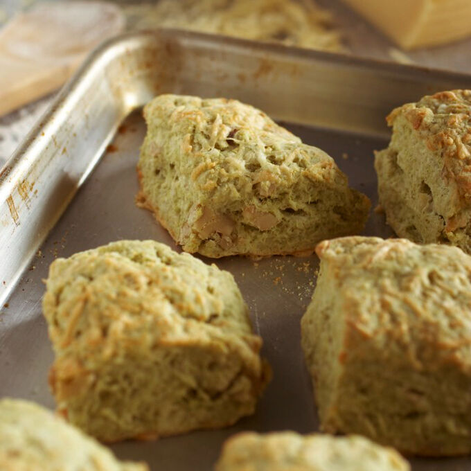 Dubliner, Sage and Walnut Cheese Crusted Biscuits