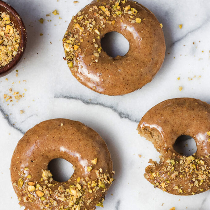Baked Apple Doughnuts with Almond-Butter Glaze