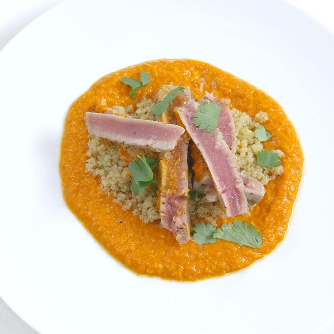 Grilled Tuna, Romesco Sauce and Quinoa