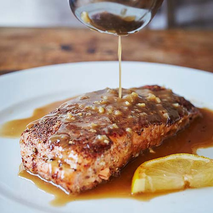 Five-Spice Crusted Salmon with Ginger Pan Sauce