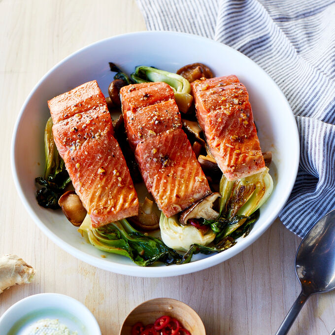 Ginger-Soy Roasted Salmon with Bok Choy and Shiitake Mushrooms