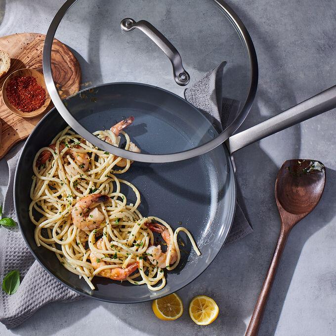 Sauteed Shrimp Lemon Bucatini with Roasted Kale
