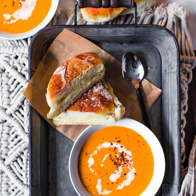 Roasted Tomato Soup with White Cheddar Panini