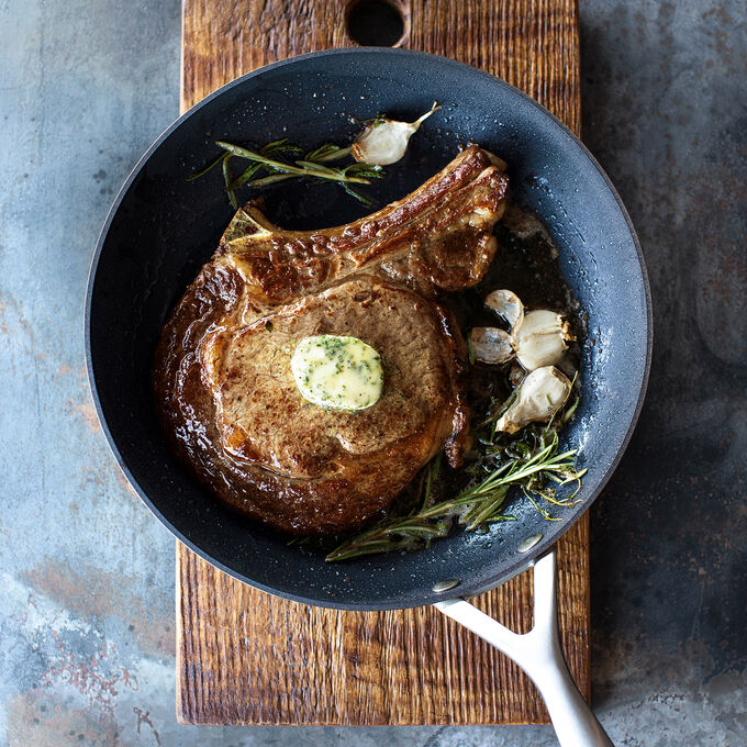 Seared Steak with Bourbon-Shallot Butter