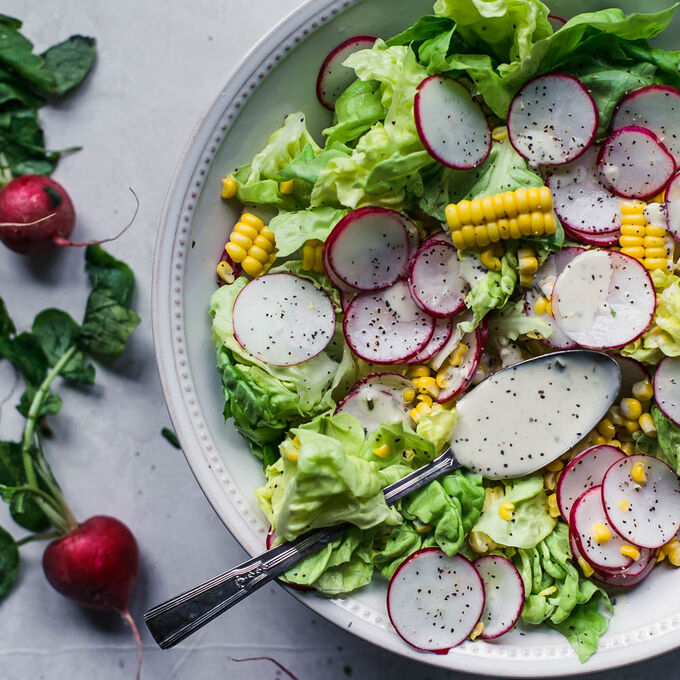Salad of Butter Lettuce and Radishes with Green Goddess Dressing
