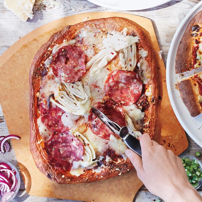 Spicy Soppressata and Fennel Pizza