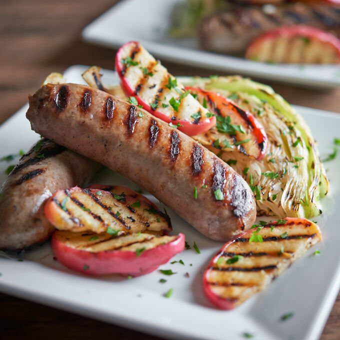 Steam-Grilled Fennel Bratwurst, Cabbage and Apple