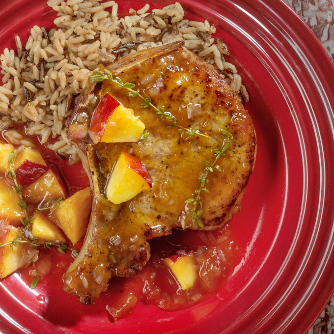 Seared Pork Chops with Peach Thyme Glaze