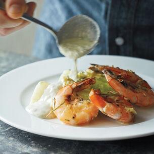 Salt Slab Shrimp with Asparagus and Honey-Basil Dressing