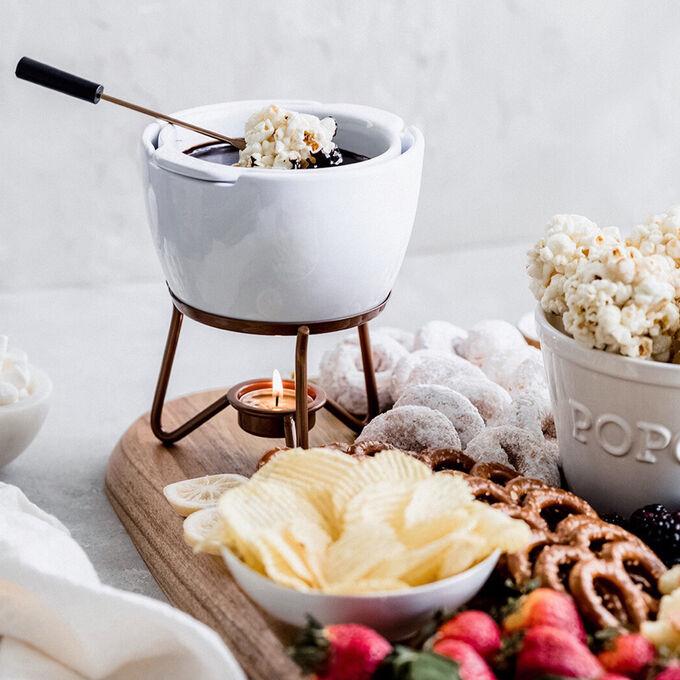 Chocolate Fondue with Popcorn Balls