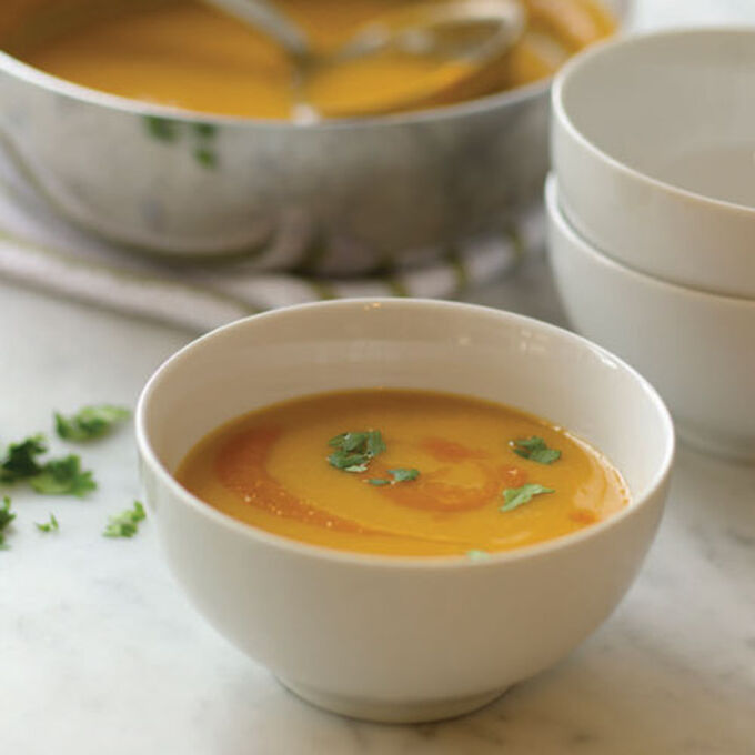 Creamy Leek and Ginger Soup with Carrot-Puree Swirl