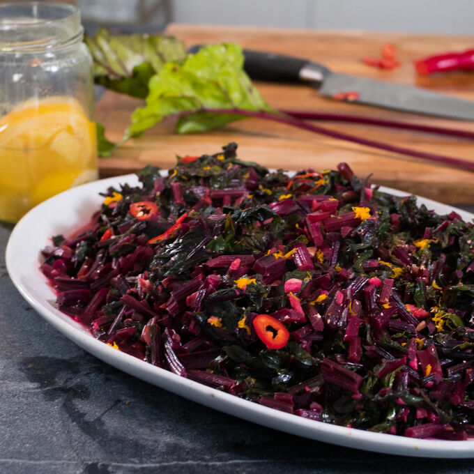 Beet Greens with Nutmeg and Clementine