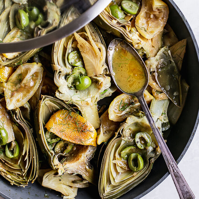 Braised Artichokes with Fennel and Olives
