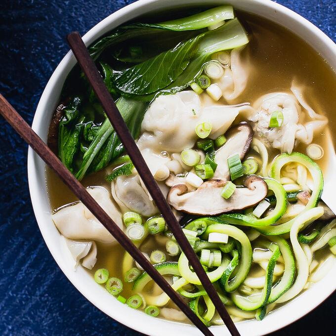 Zucchini Noodle Wonton Soup