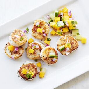 Salt Block Scallops with Fresh Mango-Cilantro Relish